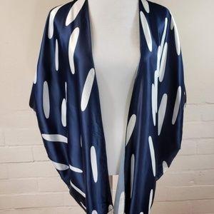 Kimono Style Satin Draped Cardigan Satan Cover up